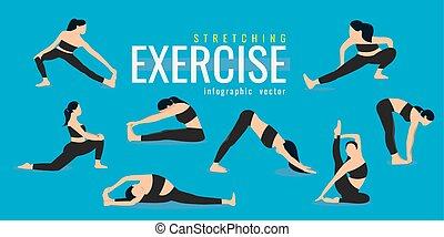 blaues, leben, frau, illustration., heiligenbilder, gesunde, concept., dehnen, hintergrund., vektor, exercises., aktive, m�dchen, sport