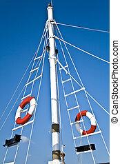 blaues, leben, segeln, aus, himmelsgewölbe, mast, boje