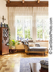 blaues, lebensunterhalt, cupboard., zimmer, hölzern, foto, luxuriös, aufenthaltsraum, inneneinrichtung, fenster, porzellan, echte , chaise, nächste, teuer