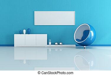 blaues, lebensunterhalt, modernes zimmer