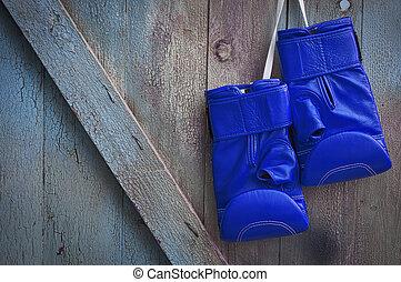 blaues, leder, boxhandschuhe, hängender