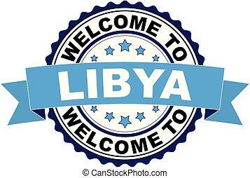 blaues, libyen, briefmarke, herzlich willkommen, abbildung, gummi, vektor, schwarz