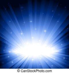 blaues licht, bersten, mit, sternen