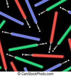 blaues licht, schwerter, grün rot