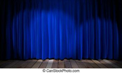 blaues licht, stoff, schleife, vorhang