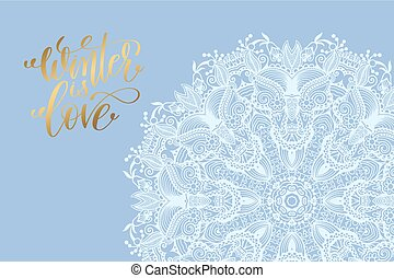 blaues, liebe, winter, plakat, hintergrund, weiße schneeflocke