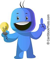 blaues, lightbulb, abbildung, vektor, hintergrund, caracter,...