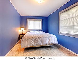 blaues, lila, decke, windows., zwei, schalfzimmer, weißes