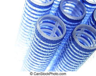 blaues, lockenwickler