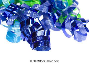 blaues, lockig, geschenkband