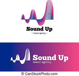 blaues, logotype., abstrakt, steigung, vektor, musik, violett, logo.