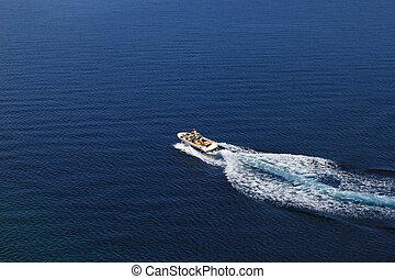 blaues, luftaufnahmen, meer, rasen boot, ansicht