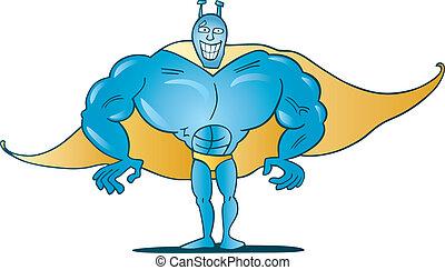 blaues, lustiges, superhero