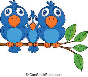 blaues, lustiges, vogel, karikatur