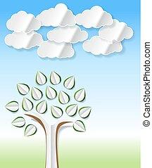 blaues, mülltrennung, schnitt, wolkenhimmel, umwelt, fruehjahr, bild, abstrakt, oder, hintergrund., thema, papier, design, bäume, eco, begrifflich, grün, andere, vektor, dein, heraus