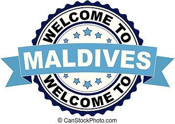 blaues, malediven, briefmarke, herzlich willkommen, abbildung, gummi, vektor, schwarz