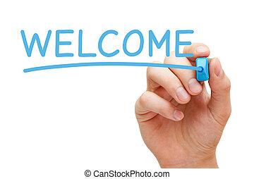 blaues, markierung, herzlich willkommen