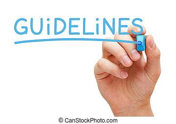 blaues, markierung, richtlinien
