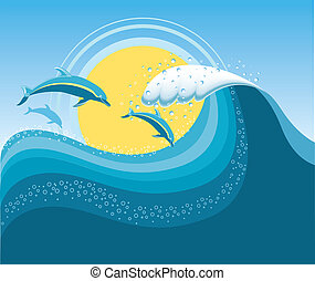 blaues, masche, meer, delphine, wave., seascape., vektor, ...