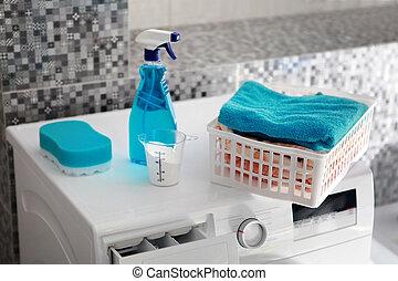 blaues, maschine, waschpulver, wäscherei