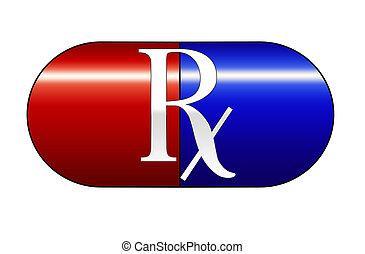 blaues, medizinprodukt, kapsel, rotes