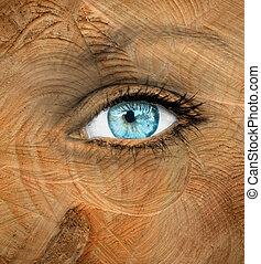 blaues, menschliches auge, mit, hölzerne beschaffenheit, -, altern, begriff