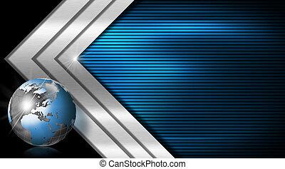 blaues, metall, geschäftskarte