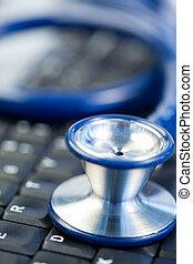 blaues, mitte, stethoskop, tastatur