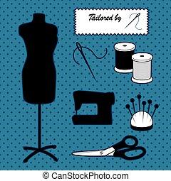 blaues, mode, nähen, ihm, sich, schaufensterpuppen, accessoirs, hintergrund, modell