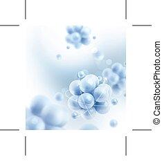 blaues, moleküle, hintergrund