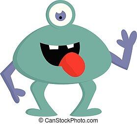 blaues, monster, one-eyed, arme, abbildung, vektor, mund, hintergrund, violett, weißes, rgeöffnete, glücklich