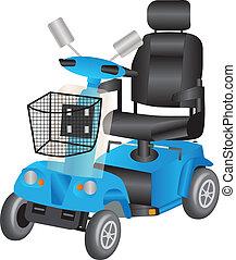 blaues, motorroller, beweglichkeit