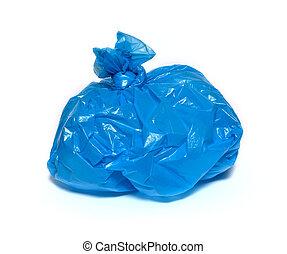 blaues, muell, freigestellt, tasche, hintergrund, weißes
