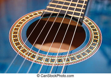 blaues, musik, gitarre, für, spielende , party, musik