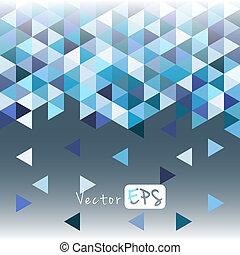 blaues, muster, geometrisch, dreieck, mosaik