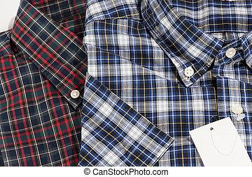 blaues, muster, geprüften hemd, rotes