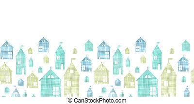 blaues, muster, seamless, beschaffenheit, gewebe, häusser, grüner hintergrund, horizontal