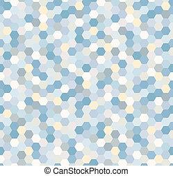 blaues, muster, sechseckig, seamless