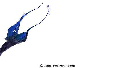 blaues, nahaufnahme, oel, farbe, splashing., ansicht
