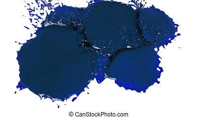 blaues, oel, flüssiglkeit, fällt, white., spritzt, tropfen