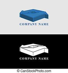 blaues, option., volumetrisch, oder, formen, abstrakt, gegenstand, pfeile, ihm, logotype, projekt, auch, design, ikone, logo, weißes, 3d, sie, schwarz