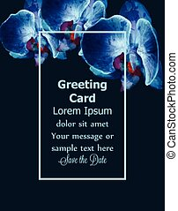 blaues, orchideen, aquarell, vektor, card., einladung, postcard., wedding, ceremony., delikat, frauen, tag, greeting., design, template., schöne , farben