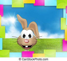 blaues, Ostern, grün, kaninchen