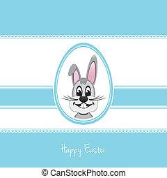 blaues, ostern, hintergrund, ei, kaninchen, glücklich