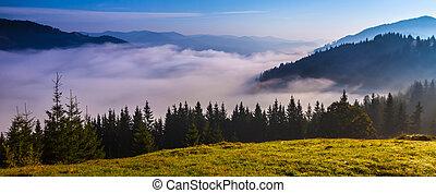 blaues, panorama, berge