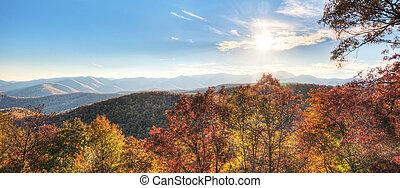 blaues, panorama, bergrücken, berge
