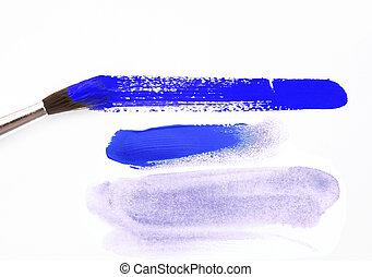 blaues, papier, bürste, hintergrund, weißes, beflecken