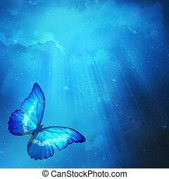 blaues, papillon, dunkler hintergrund