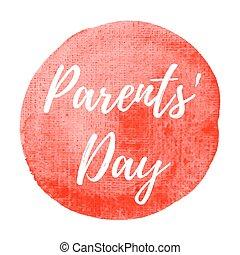 blaues, parents', plakat, karte, gemalt, text, abbildung, feiertag, geschrieben, vektor, logo, hintergrund, feier, wörter, tag, beschriftung, glücklich