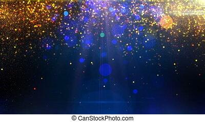 blaues, partikeln, hintergrund, gold, schleife